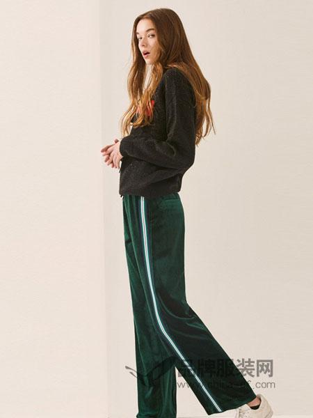 FIRSTVIEW女装2018秋冬新款休闲裤松紧系带绒面拼色长裤