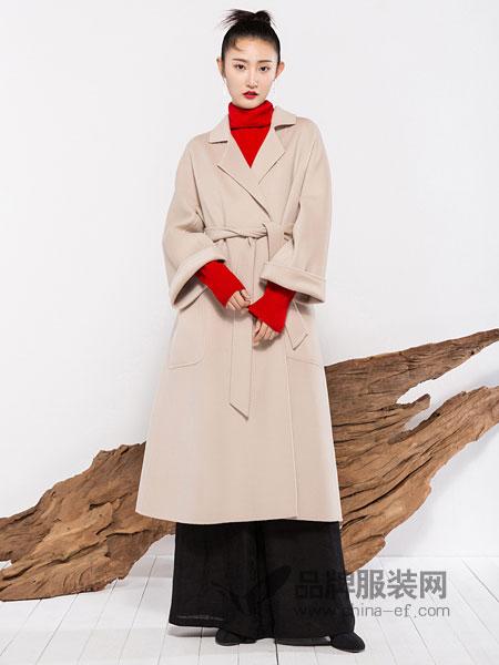 晒谷场/晒道/COCOSHOP女装2018秋冬新款宽松双面呢大衣撞色后开叉毛呢外套