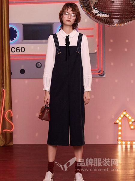 卡贝奈尔女装2018秋冬韩版新款百搭显瘦吊带连体裤子