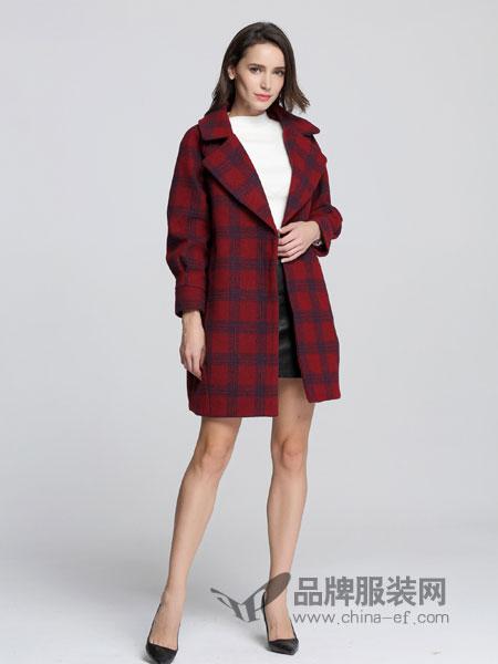 法卡蔓女装2018秋冬英伦格子翻领中长款大衣