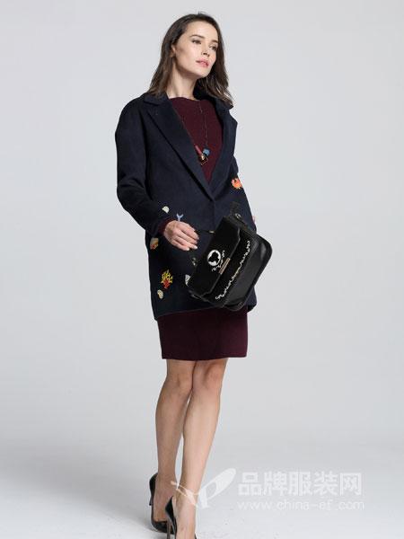法卡蔓女装2018秋冬中长款毛衣外套气质女大码针织开衫