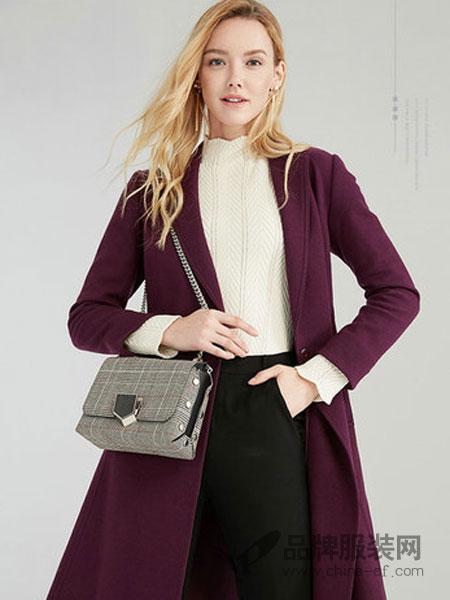 奥菲曼女装2018秋冬羊毛大衣女系带紫色长款双面呢外套通勤