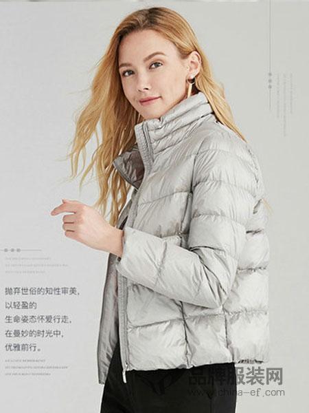 奥菲曼女装2018秋冬时尚短款白鸭绒加厚外套立领保暖羽绒服女