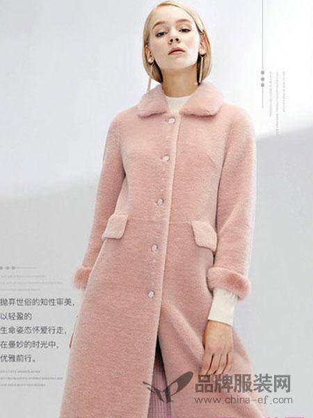 奥菲曼女装2018秋冬粉色皮草女外套中长款水貂毛羊毛大衣