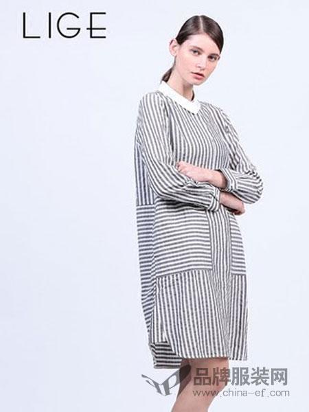 三淼女装条纹衬衫裙时尚百搭长衬衫文艺