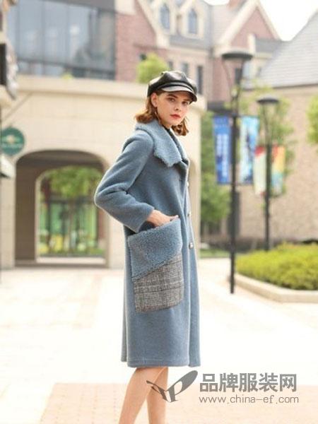 娅玛诗女装2018秋冬中长款加厚宽松针织开衫仿水貂绒毛衣外套