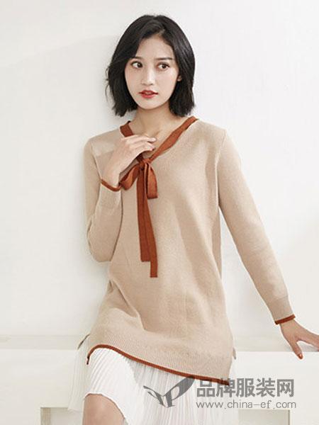 MiMU女装2018秋冬针织蝴蝶结绑带中长款长袖