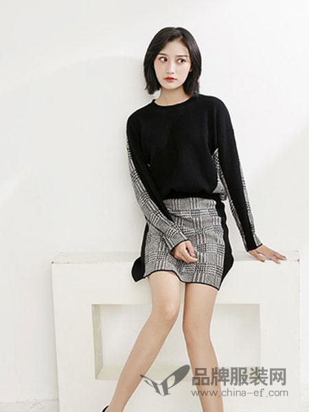 MiMU女装2018秋冬黑色拼接格纹套装裙