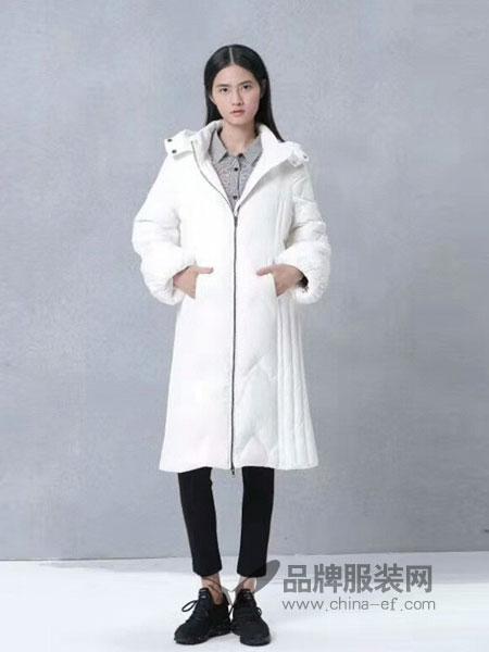 知煜女装2018冬季白色连帽高端羽绒服女中长款派克外套