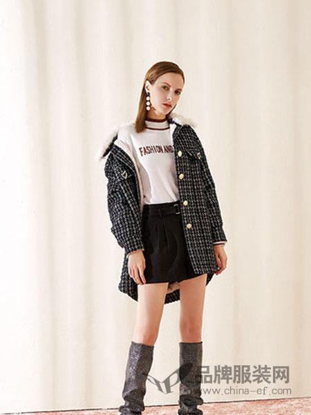 澳莉丝女装2018冬季中长款宽松过膝格子双排扣chic呢子大衣