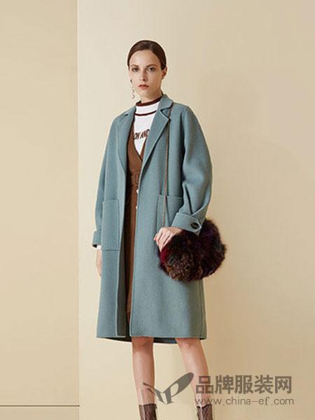 澳莉丝女装2018冬季双面呢羊绒大衣修身收腰毛呢外套