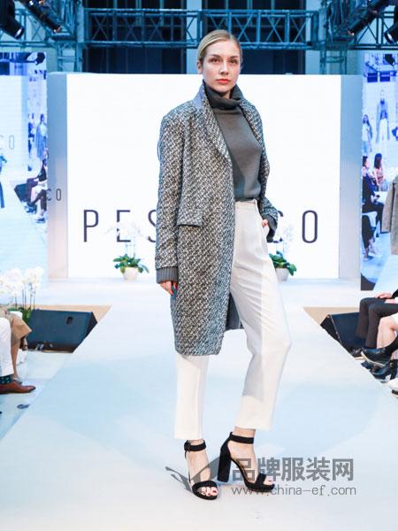 蓓赛丽珂Peserico女装2018秋冬时尚一粒扣百搭毛呢外套