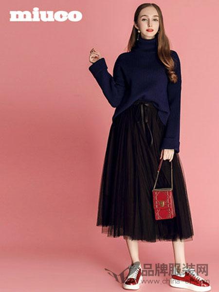 缪可 - MIUCO女装2018秋冬高领宽松针织衫+蝴蝶结系带百褶半裙套装