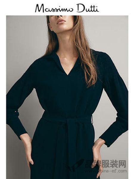 Massimo Dutti女装系结和打褶设计连衣裙
