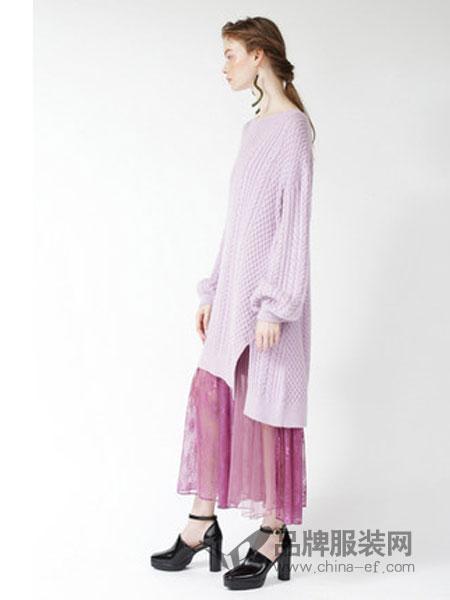 Snidel女装2018秋冬蕾丝拼接针织两件套裙
