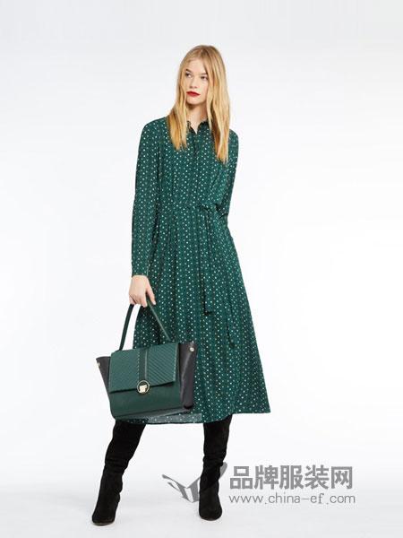 MARELLA女装2018秋冬印花长袖棉中长款连衣裙