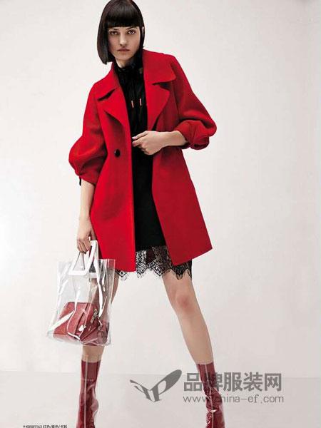 卡尼欧女装2018秋冬优雅五分袖侧口袋中长款翻领毛呢大衣