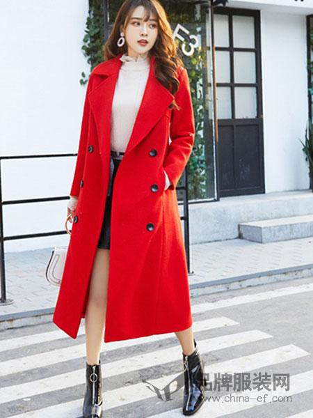 艾斯嘉女装红色长款宽松大衣