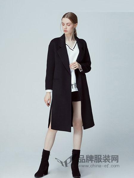衣诗漫女装2018秋冬新款时尚气质修身外套长袖纯色长款毛呢大衣