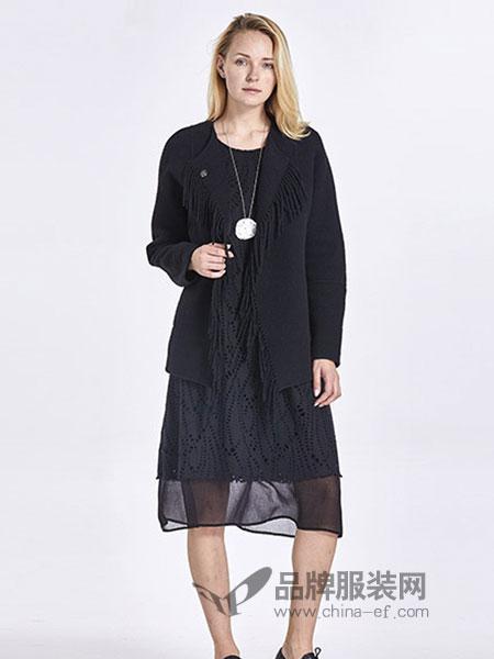 罗兰伊杜女装2018秋冬新品短款黑色羊毛呢子大衣