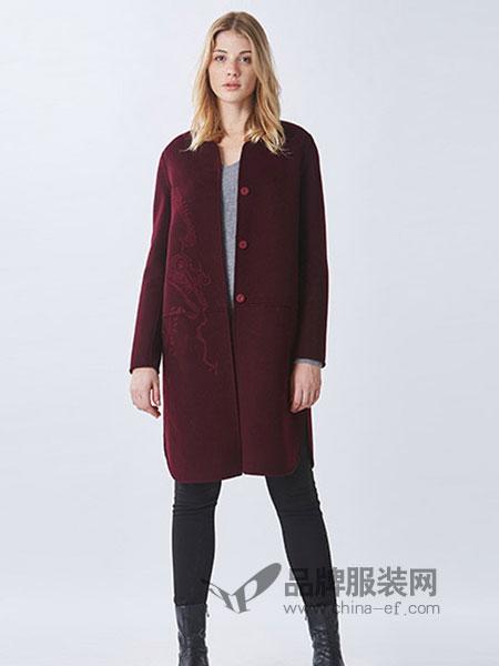 罗兰伊杜女装2018秋冬新款宽松中长毛呢大衣外套