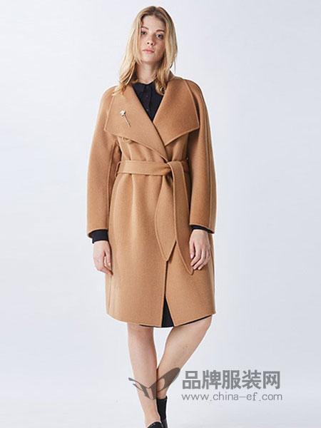罗兰伊杜女装2018秋冬新款长袖纯色简约系带大衣外套