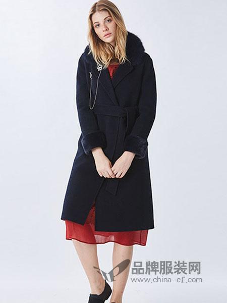 罗兰伊杜女装2018秋冬新款长袖系带羊毛呢子外套女大衣