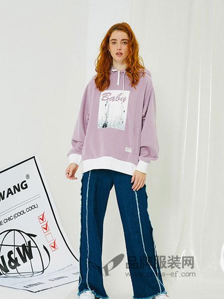 NANAWANG女装2018秋冬新款紫色长袖休闲加厚套头连帽加绒卫衣