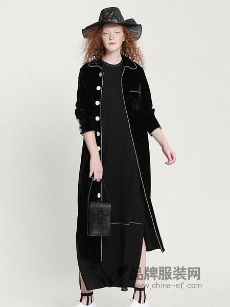 EINyan女装2018秋冬中长款风衣外套宽松气质休闲百搭