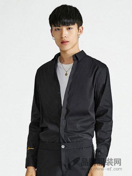 卡宾男装2018秋冬时尚中国风刺绣长袖休闲衬衫衬衣
