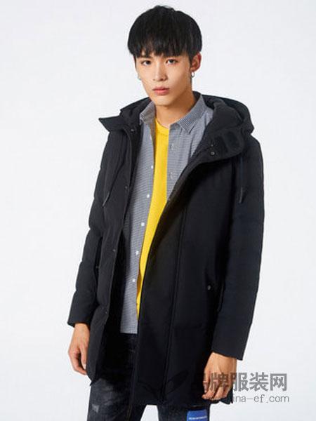 卡宾男装2018秋冬帅气连帽保暖白鸭绒羽绒服