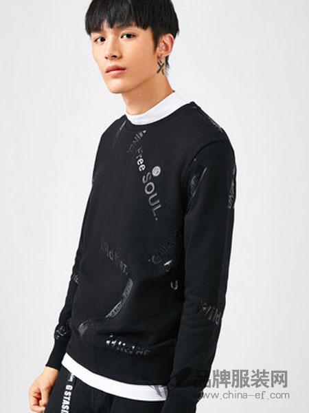 卡宾男装2018秋冬时尚圆领字母长袖卫衣青年街头上衣