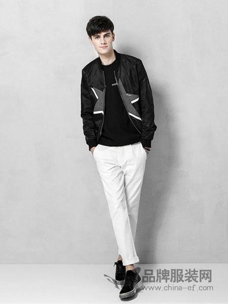 范路尼-fanluni男装2018冬季图案黑色棒球外套