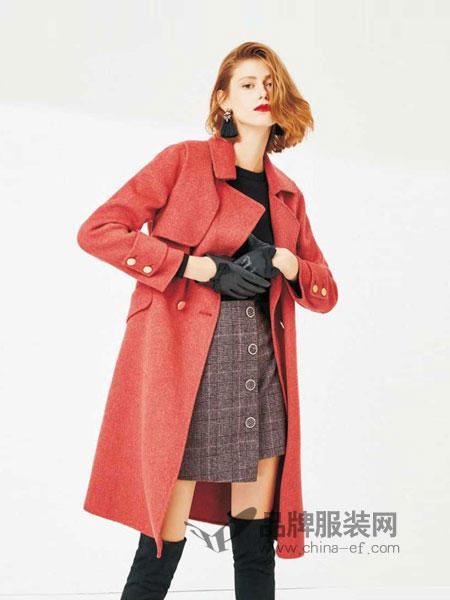 Theme女装2018秋冬新款韩版羊毛呢子修身长外套