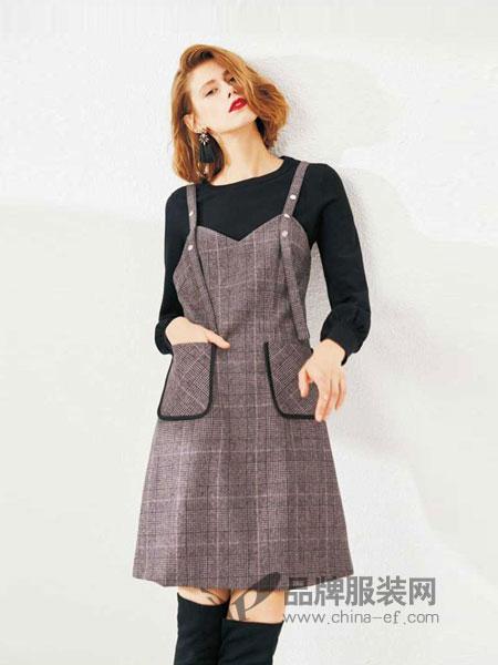 Theme女装2018秋冬气质吊带裙复古格纹背带修身连衣裙