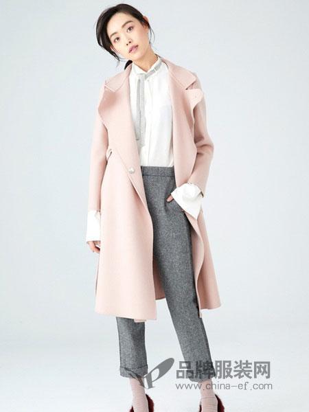 爱丽娜米罗女装2018秋冬新款时尚修身毛呢外套