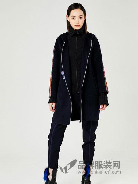爱丽娜米罗女装2018秋冬藏青色修身小脚长裤休闲裤