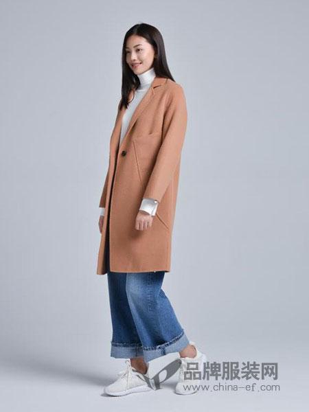 蔓瑞兰熙女装2018秋冬新款直筒长款马海毛呢大衣保暖通勤长款呢子外套