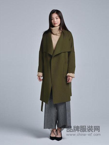 蔓瑞兰熙女装2018秋冬显瘦手工双面羊绒大衣西装领驼色