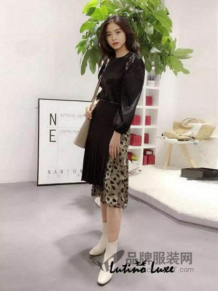 Lutino Luxe女装2018秋冬鱼尾显瘦高腰半身裙A字裙潮