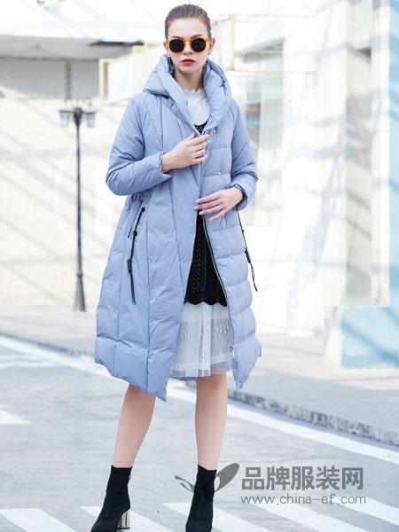 金蝶茜妮女装2018秋冬新款韩版气质修身显瘦中长款白鸭
