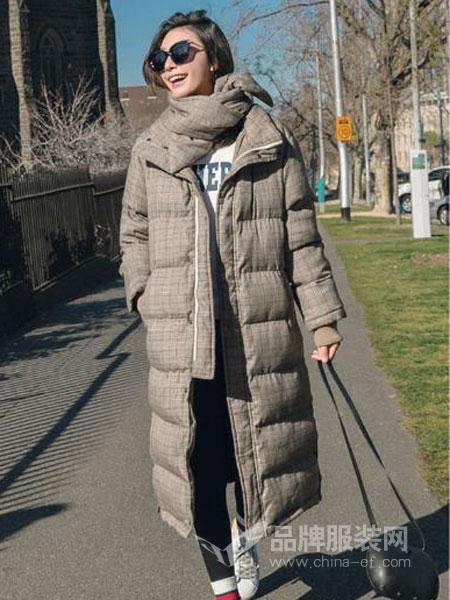 搜美女装2018秋冬新款格子连帽羽绒棉袄显瘦加厚保暖外套
