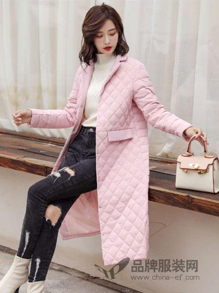 搜美女装2018秋冬单排扣粉色白色气质简约直筒长款羽绒服外套