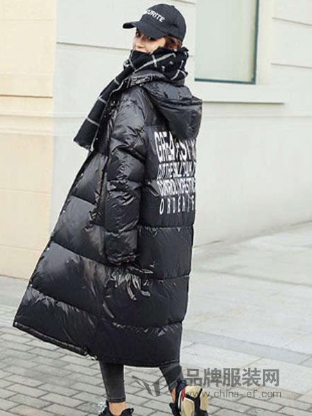 搜美女装2018秋冬时尚连帽棉服中长款过膝加厚棉袄外套