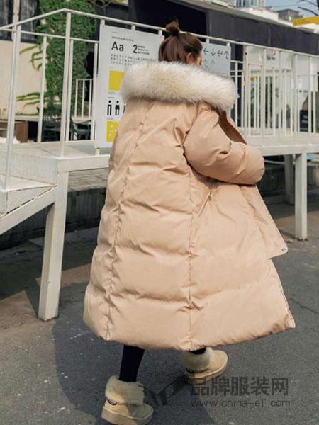 搜美女装2018秋冬新款加厚大衣中长款羽绒棉服外套潮