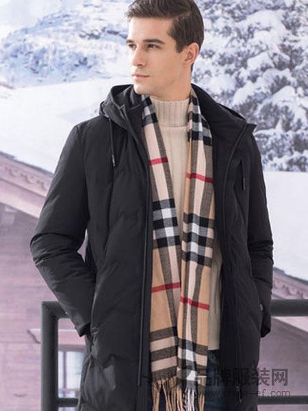 传奇保罗男装2018冬季中长款连帽时尚男装潮流外套