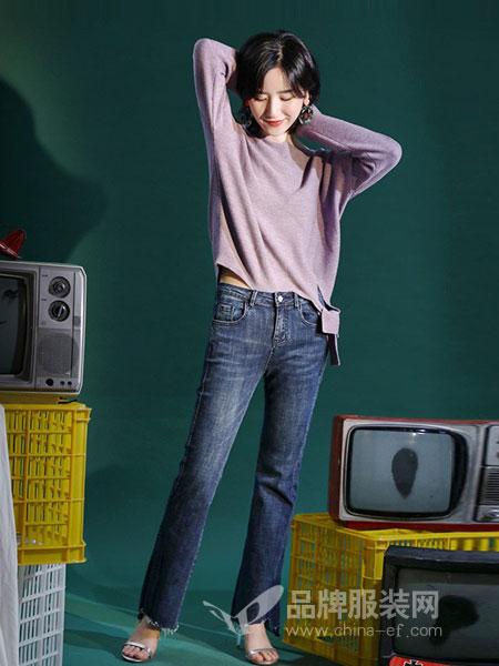 百武西(BIOLIVING)女装2018秋冬高腰修身显瘦弹力开叉微喇叭牛仔裤