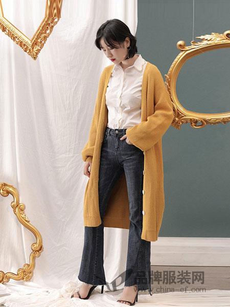 百武西(BIOLIVING)女装2018秋冬长款宽松加厚羊毛毛衣外套开衫灯笼袖