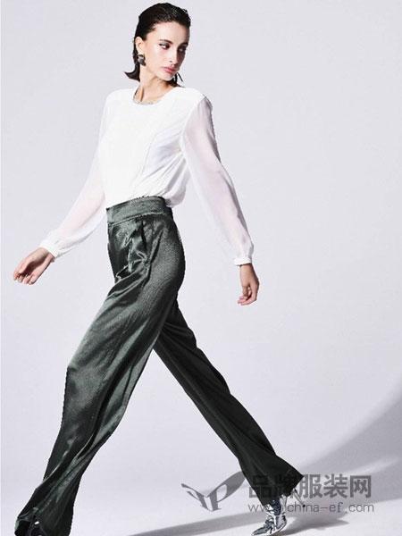 Mont Guimauve女装2018秋冬金丝绒修身显瘦长裤