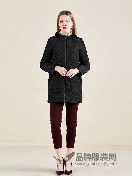 依兰女装2018秋冬棉衣直筒显瘦气质棉服外套